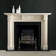 Syon Steel Fire Basket and Black Slate Hearth Mantel
