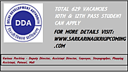 DDA Recruitment 2020 | 629 Vacancies Sarkarinaukriupcoming