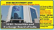 SEBI Recruitment 2020 | Apply online for 147 post OFFICER GRADE A