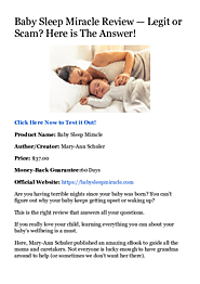 (PDF) Baby Sleep Miracle Review — Legit or Scam? Here is The Answer! | David Thon - Academia.edu