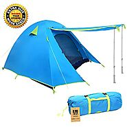 Weanas Professional Backpacking Tent 2 3 4 Person 3 Season Weatherproof Double Layer Large Space Aluminum Rod for Out...