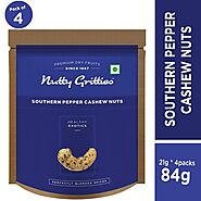 Nutty Gritties Southern Pepper Cashews|Cashewnuts (Pack of 4-21g Each), 84g: Amazon.in: Grocery & Gourmet Foods