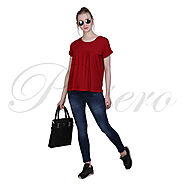 Passero Red Short Flared Top | Casual Top For Women