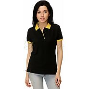 Passero Cotton Polo Neck Tee For Women | Solid Black Tee