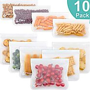 Reusable Storage Bags - 10 Pack Leakproof Freezer Bag(6 Reusable Sandwich Bags & 4 Reusable Snack Bag) - EXTRA THICK ...