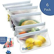 ZipSeal Reusable Sandwich Bags | 6 Pack | Resealable Food Storage Bag | 4 Sandwich Bags + 2 Snack bags | Leak Proof F...