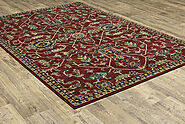 Traditional & Oriental Rugs Ankara 531R Red & Burgundy Colors Machine Made Rug