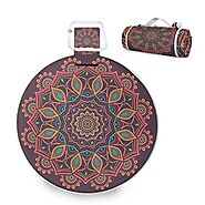 Mr.XZY Mandala Indian Style Large Picnic Blanket Boho Totem Blue Round Mysterious Magic Handy Mat with Waterproof Bac...