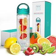 Savvy Infusion Water Bottles - 24 Ounces - Teal Cap - Leak Proof Silicone Sealed Cap with Handle - Fruit Infuser Wate...