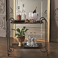 Global Views Blade Luxury Bar Cart-Bronze | Grayson Luxury